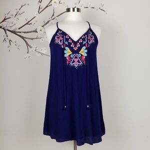 EUC As U Wish | Navy Embroidered Slip Dress, Small
